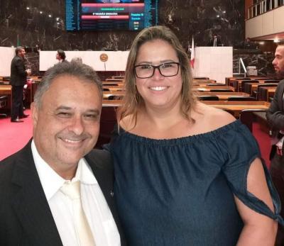 Atuantes representantes de Itaúna, vereadora Márcia Cristina, minha amiga,  e o deputado estadual Gustavo Mitre.