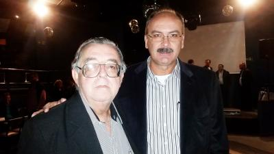 O Prefeito Neider Moreira Faria e este colunista na posse  da diretoria do Tropical Tênis Clube