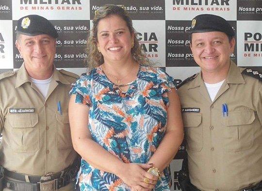 A distinta vereadora Márcia Cristina, Sargento Alaércio  e Capitão Alexsandro da gloriosa Polícia Mititar