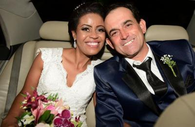 Meus afilhados de casamento Fabiana Andrade, da Clínica Completa, e Dênio